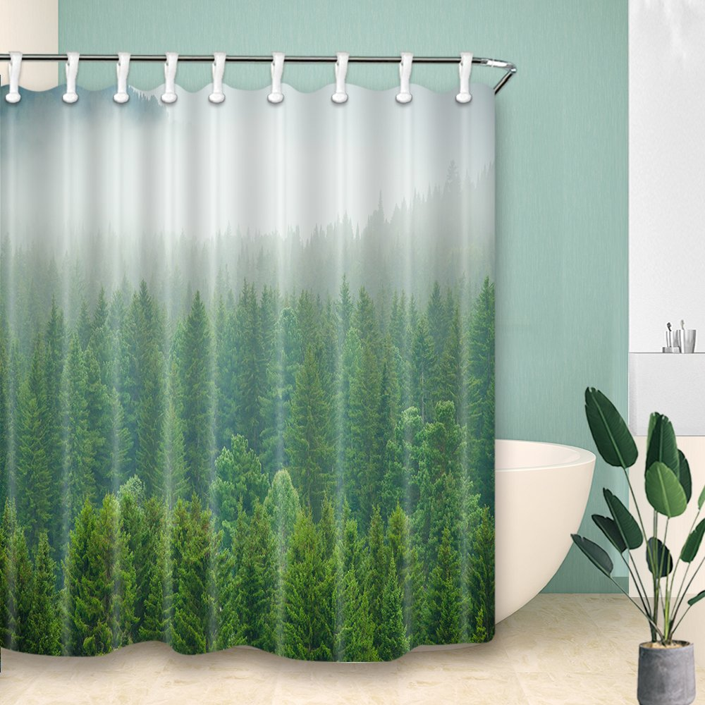Foggy Forest Shower Curtains Nature Landscape With Green Pine Trees Mildew Resistant Polyester Fabric Bath Curtain For Bathroom Colorful