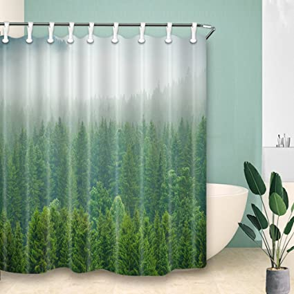 YM HOME Foggy Forest Shower Curtains Nature Landscape With Green Pine Trees Mildew Resistant