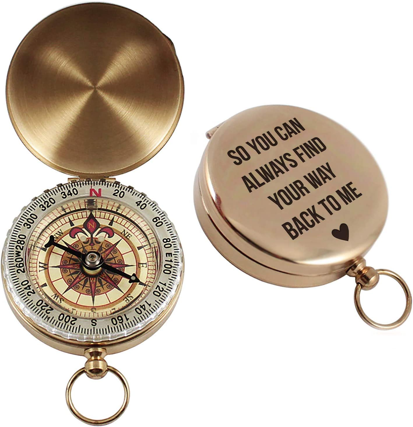 Aurelie & George Engraved Compass - Custom Engagement, Anniversary, Wedding Gift for Him - Gift for Husband, Fiance, or Boyfriend - Working Compass in a Gift Box
