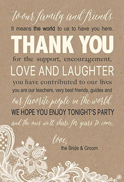 50 wedding kraft thank you place cards rehearsal dinner thank you table sign menu