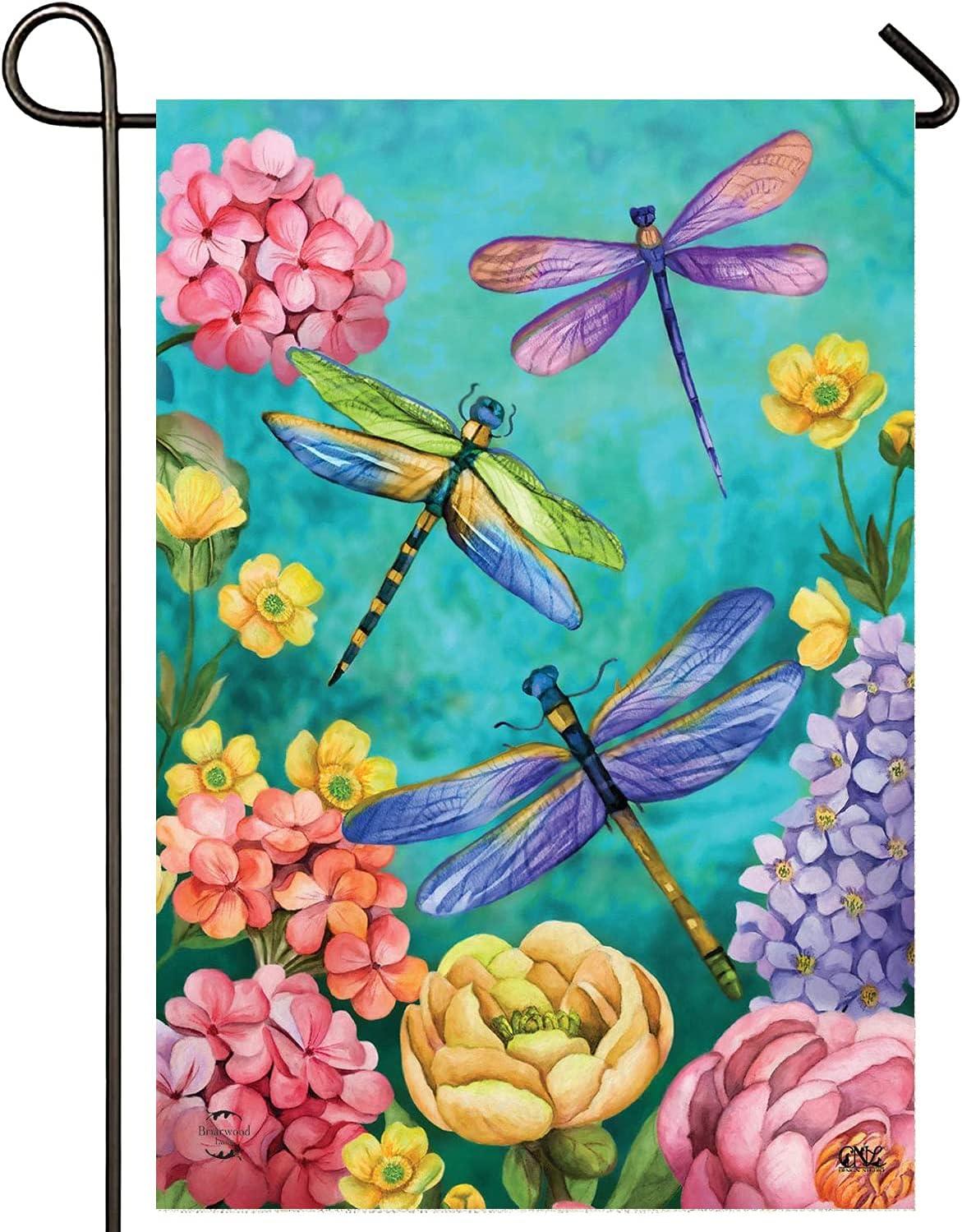 TAFFY'S Dragonfly Garden Flag for Summer-Summer Garden Flag for Outside 12x18-Double Sided Yard Flag-Summer Garden Decorations-Waterproof