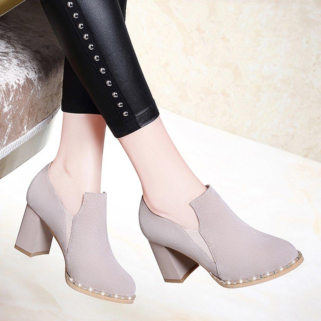 Damenschuhe HWF Single Schuhe Frau mittleren Absatz britischen Stil High High High Heels Frühling (Farbe   Schwarz größe   34) b2f279