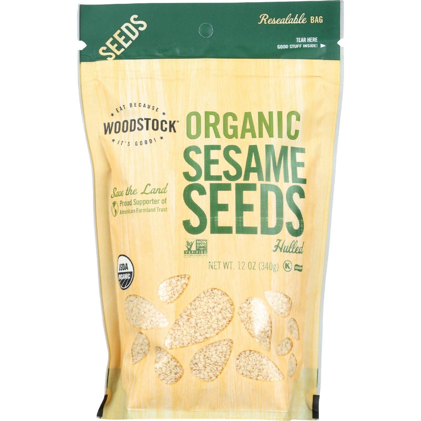 Woodstock Seeds - Organic - Sesame - Hulled - Raw - 12 oz - case of 8
