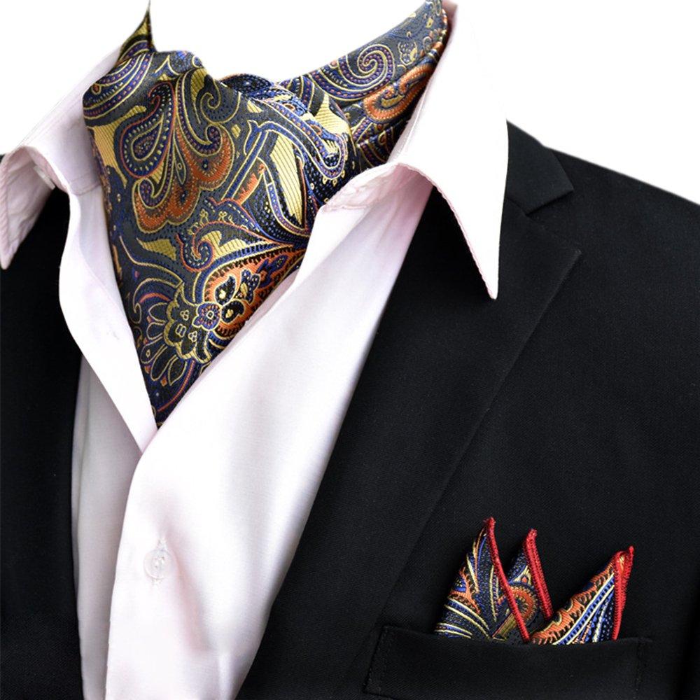 YCHENG Herren Krawattenschal Paisley Gewebtem Jacquard Krawatte Taschentuch Ascot Set 17YCHENG1120-01