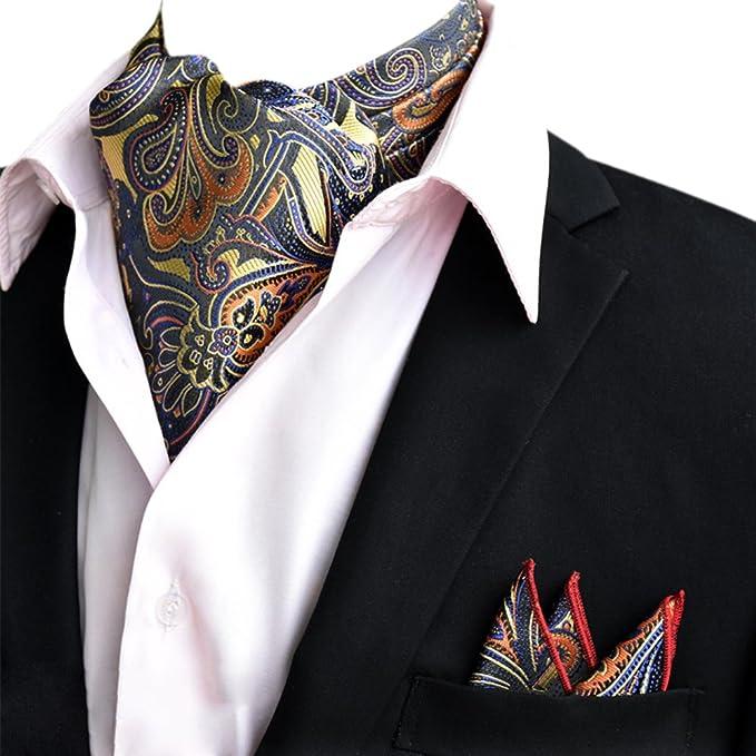 YCHENG Pañuelo Hombre Jacquard Ascot Paisley Corbatas Vintage Cravat Bufanda Banquete Fiesta RsaaL