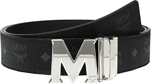 MCM Men's Claus Reversible Silver Buckle Belt Black Belt