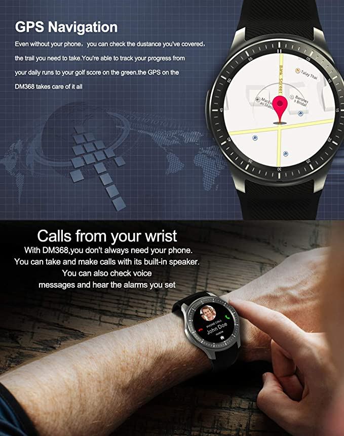 TYWZF Fitness Trackers Reloj Inteligente 3G Quad Core 8GB GPS ...