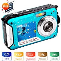 Underwater Camera FHD 2.7K 48 MP Waterproof Digital Camera Selfie Dual Screen Full-Color LCD Displays Waterproof Digital Camera for Snorkeling (806BC)