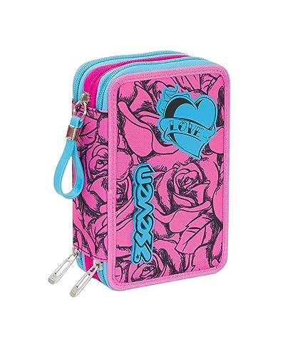 Estuche escolar completo 3 cremalleras Seven Lefleur rosa ...