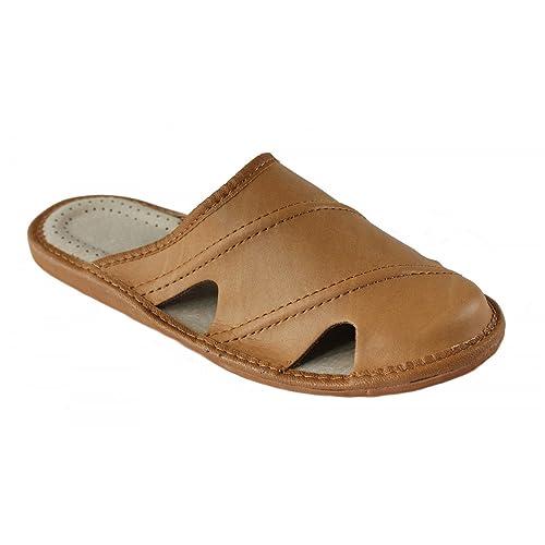 Herren Hausschuhe Leder Pantoffeln Pantoletten Latschen M19