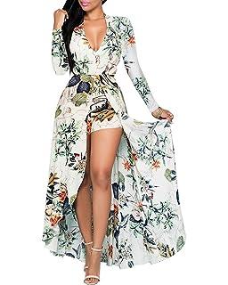 681dfb7c5785 Dellytop Women V Neck Floral Print Chiffon Maxi Dress Overlay Romper  Jumpsuit