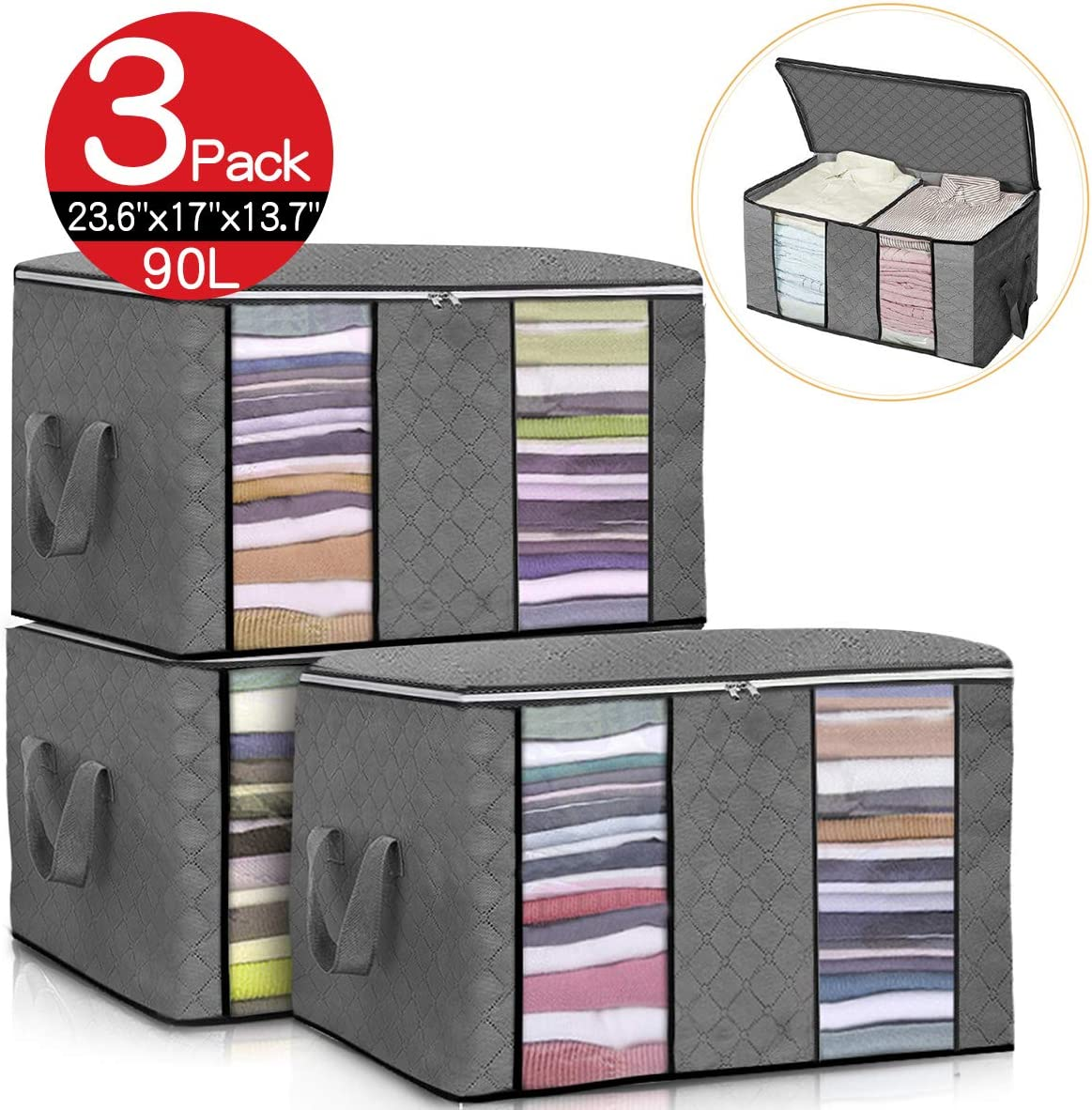 king do way Closet Organizer Clothes Storage Bags Large Capacity Storage Organizers with Reinforced Handle,Stainless Steel Zipper,3 Layer Fabric for Comforters,Bedding,Blankets Clothing (Grey)