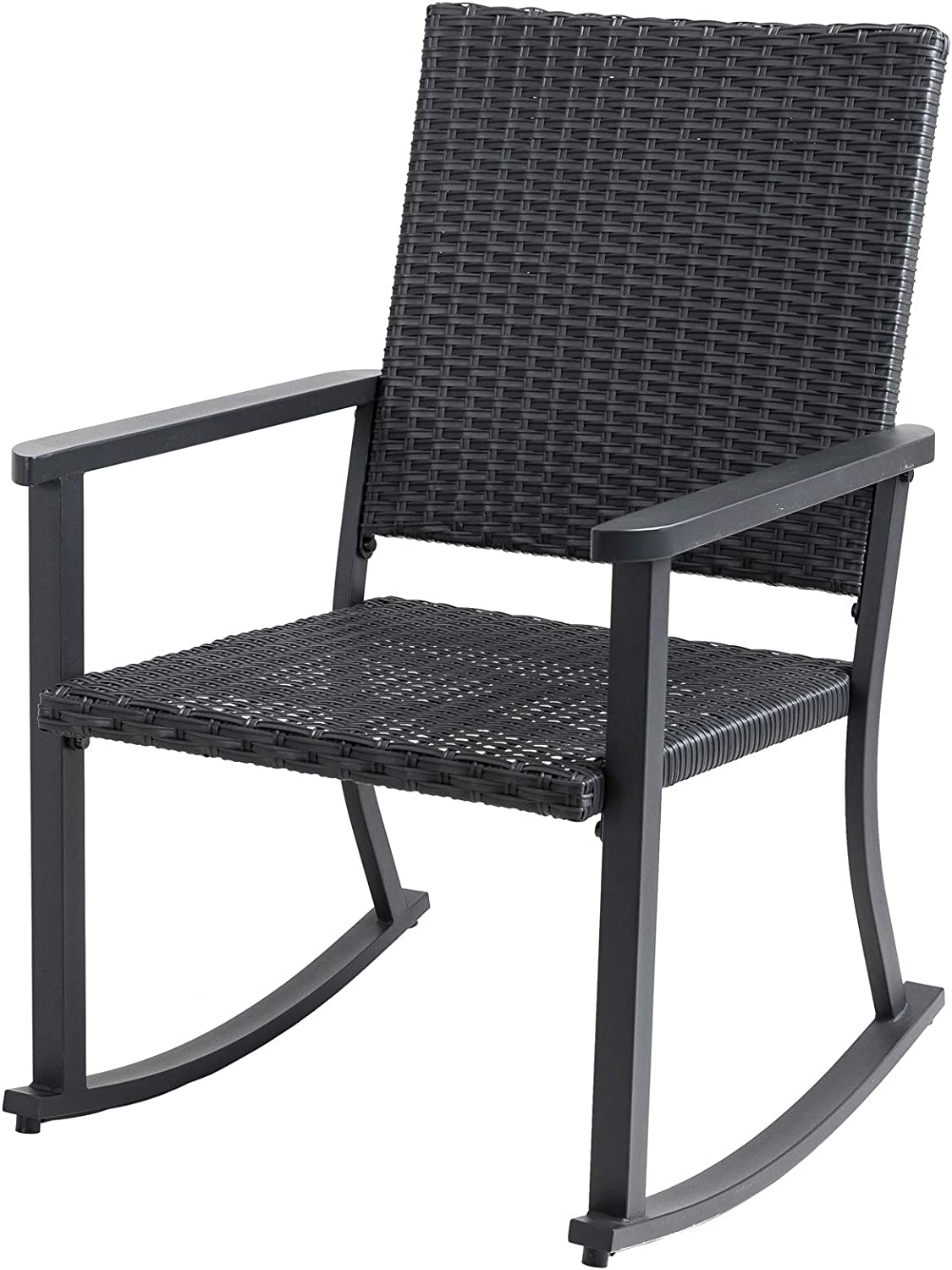 C-Hopetree Patio Rocking Chair, All Weather Outdoor Rocker with Hand Woven Black Wicker and Frame
