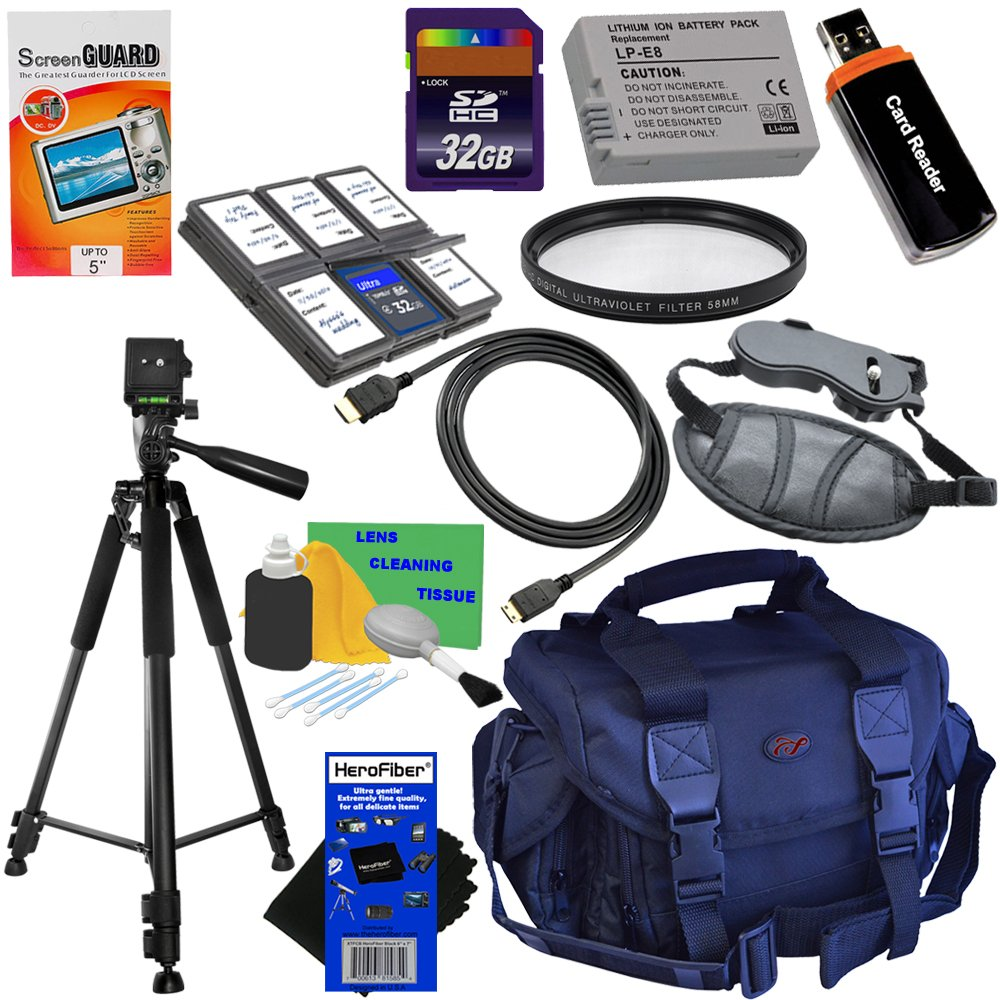 HeroFiber 12pc Bundle 32GB Accessory Kit w/LP-E8 Battery Pack Ultra Gentle Cleaning Cloth for Canon EOS Rebel T2i, T3i, T4i & T5i (550D, 600D, 650D & 700D) Digital SLR Cameras
