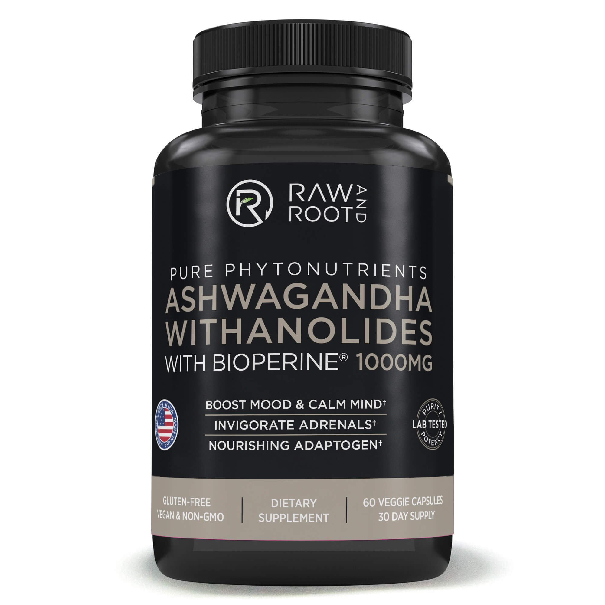 ASHWAGANDHA WITHANOLIDES with BIOPERINE - Adaptogen, Anxiety & Stress Relief, Adrenal Support - Dietary Supplement - 60 Vegetarian Capsules