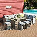 JOIVI Patio Furniture Set, 7 Pieces PE Rattan Wicker Dining Sofa Set, Outdoor Patio Furniture with Ottoman and Aluminium Tabl