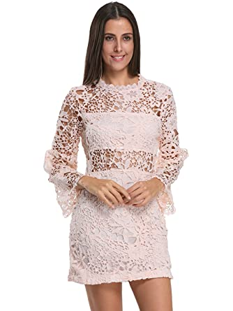 f4cc08ddc81b Amazon.com: Choies Women's Black White Lace Bodycon Mini Dress with Long  Sleeve: Clothing