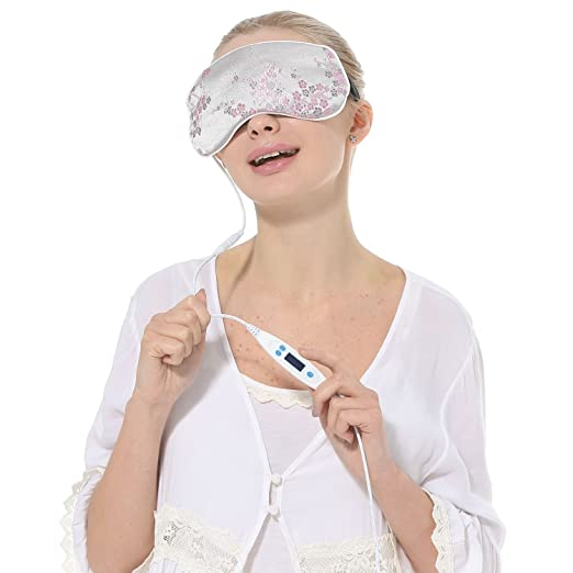 Aroma Season USB Heating Lavender Hot Steam Silk Eye Mask, Lavender Scented Luxury Silk Warm Eye Mask (Silver Silk)