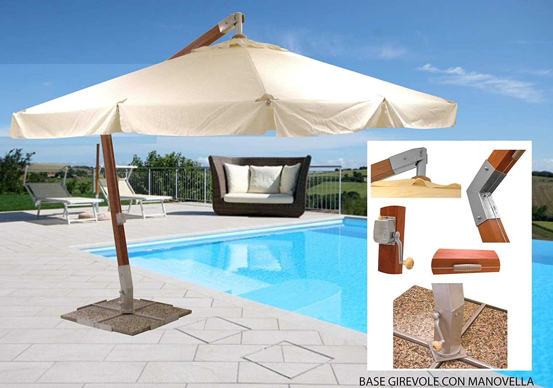 SF Savino Filippo - Sombrilla colgante de madera de nogal, 3 x 4 m, con palo lateral descentralizado, giratoria, para jardín, piscina, bar, restaurante: Amazon.es: Jardín