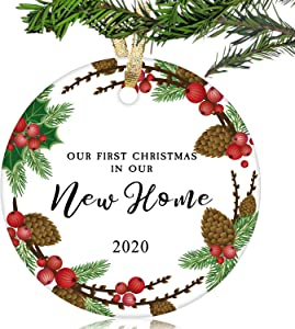 "NURIONSS Our First Christmas in Our New Home Ornaments 2020 - Christmas Wedding Decoration Gift for New Home New Homeowner New Apartment - 2.85"" Ceramic Ornament(New Home 14)"