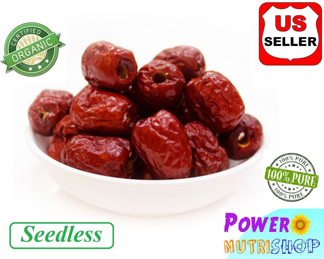 1LB (Seedless) ALL NATURAL GROWN ORGANICLLY Dried JUJUBE DATES,Dates,CHINESE DATES,US SELLER,Fresh and best quality guarantee,UNBEATABLE QUALITY AT THIS PRICE!! HAND SELECTED by PowerNutri Shop (Image #1)