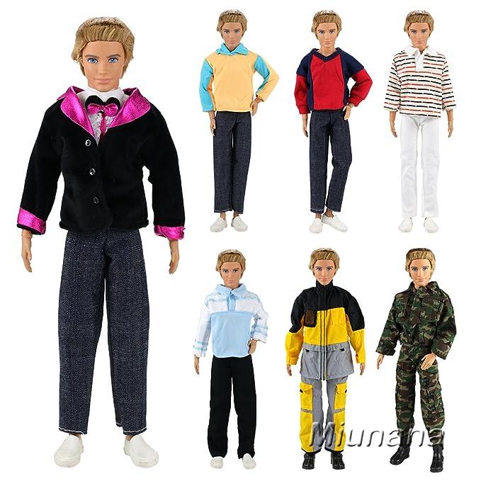 7b8c5486066962 Miunana 5 Sets Kleid Kleidung Tops Jacke Hosen Fashionistas für Barbie  Puppen KEN  Amazon.de  Spielzeug