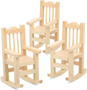 Jetec 3 Pieces Dollhouse Wooden Rocking Chairs 1:12 Unfinished Miniature Wooden Model Chair Tiny Furniture Model for Dollhouse Decoration for Easter, Weddings, Birthdays, Parties, Cake Decorations