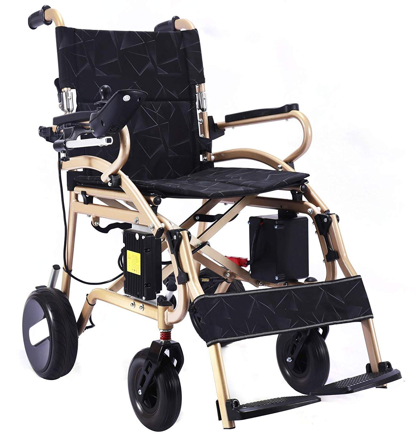 Folding Ultra Lightweight 40 lb w/Powerful Lithium Battery Included, Easy to Carry Motorized Wheelchair w/ 360° Joystick Control, Airline Travel Compatible Electric Wheel Chairs (Gold Weight 40lb) by Bangeran