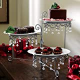Beaded 3 Tier Silver tone Swivel Server by Collections Etc