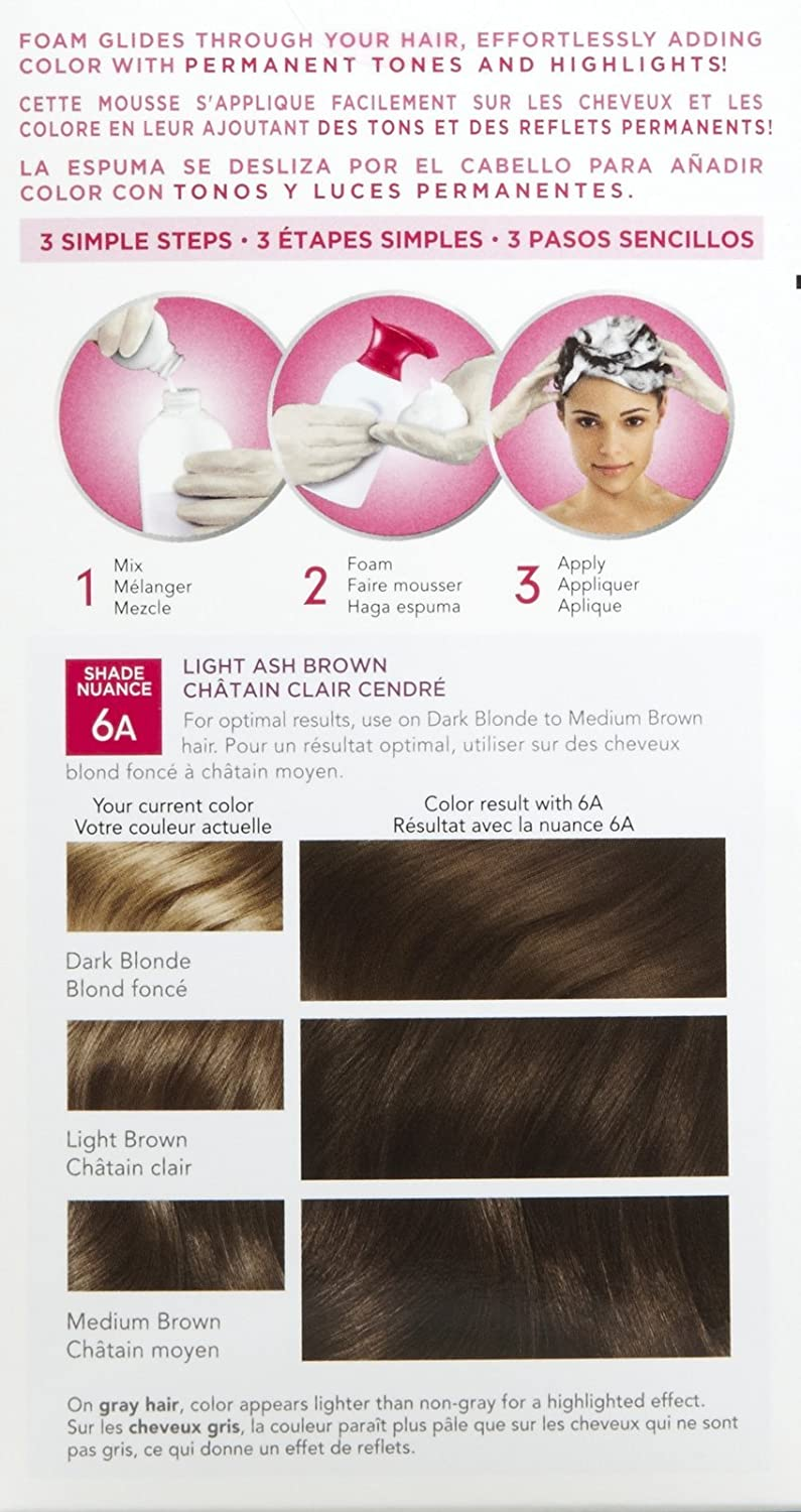 Amazon.com : Clairol Nice n Easy Color Blend Foam Hair Color, 6A, Light Ash Brown, 2 pk : Beauty