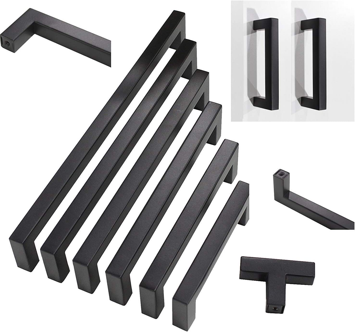 Flat Black Modern Cabinet Hardware Drawer Handle Pulls Kitchen Cupboard T Bar Knobs 5 Pack Stainless Steel Hole Centers:2-1//2in 64mm