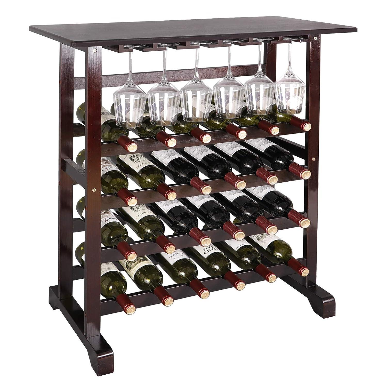ZENY 24 Bottle Wine Rack with Glass Hanger Wooden Wine Cabinet Shelf Home Kitchen Décor Bar Shelves Solid Liquor Stackable Tier Standing Organizer