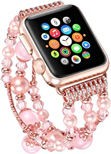 Fatsgo Compatible for Apple Watch Bands 42mm 44mm Women, Fashion Handmade Elastic Stretch Faux Pearl Beads Bracelet Replacement Strap for Iwatch SE & Series 6/5/4/3/2/1(Pink-42mm 44mm)