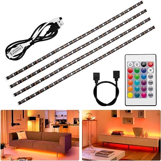 Fulighture - Tira de luces LED (2 m, USB, cambio de color, mando a distancia de 24