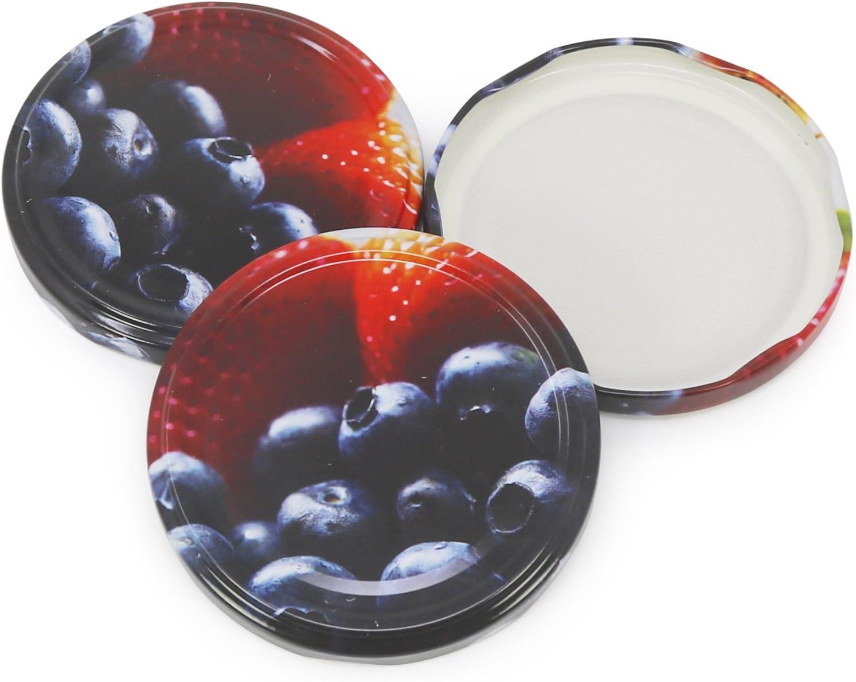 TO 82 mm tapa de rosca para tarros de dintel y tarros de alba/ñil COM-FOUR/® tapa de repuesto 24x para tarros de mermeladafruta 024 piezas - TO 82 mm mezcla de frutas 4