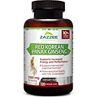 Zazzee Red Korean Panax Ginseng, 10% Ginsenosides, 120 Veggie Caps, Extra Strength...