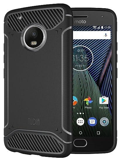 new concept 1104c b12d9 Moto G5 Plus Case, TUDIA Carbon Fiber Design Lightweight [TAMM] TPU Bumper  Shock Absorption Case for Motorola Moto G5 Plus (Black)