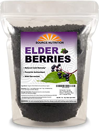 1 lb Dried Elderberries – Responsibly Wild Crafted, Whole European Elderberry, Perfect for Tea, Syrups, and More – Sambucas Nigra