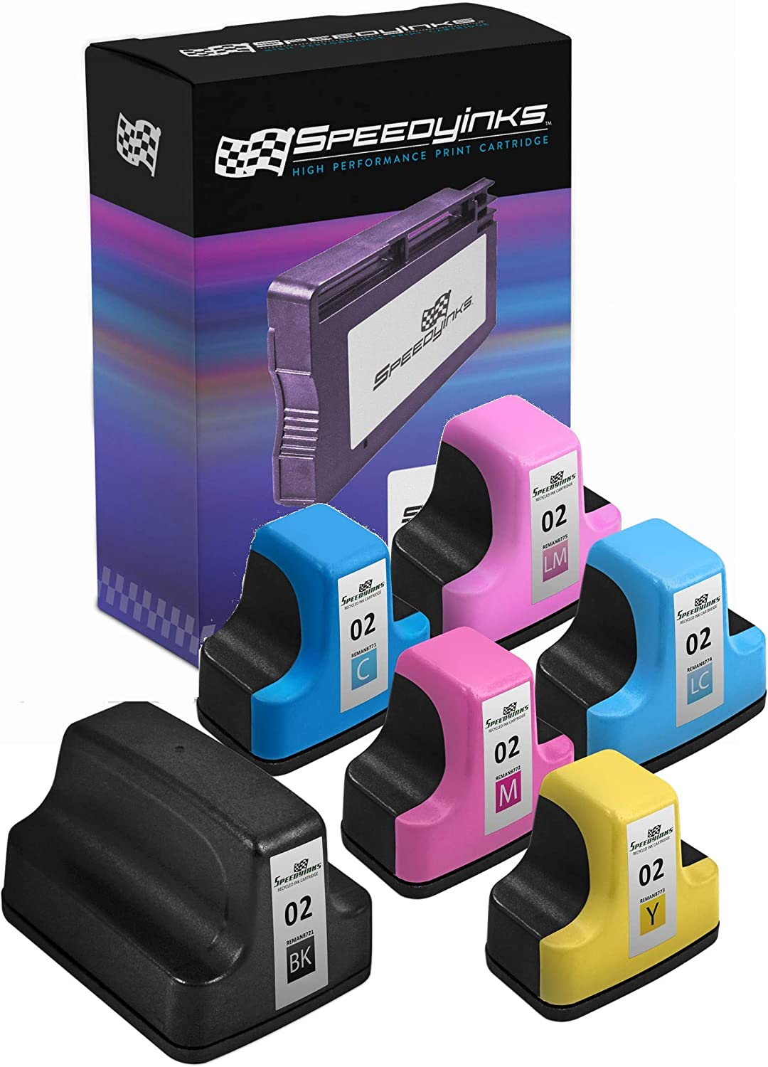 Speedy Inks Remanufactured Ink Cartridges Replacement for HP 02 (1 Black, 1 Cyan, 1 Magenta, 1 Yellow, 1 Light Cyan, 1 Light Magenta, 6-Pack)