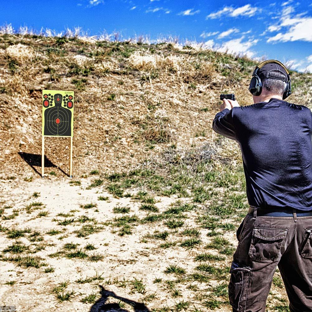 Leezo - Pegatinas de papel brillante diseño para dianas de tiro, diseño brillante de plato amarillo fluorescente para todas las armas de fuego, rifles de aire, pistolas, pistolas de airsoft, pistola de pellet - 8/12/14,5 pulgadas, 9.514.5 inch--C, 100 pieces e74ab6