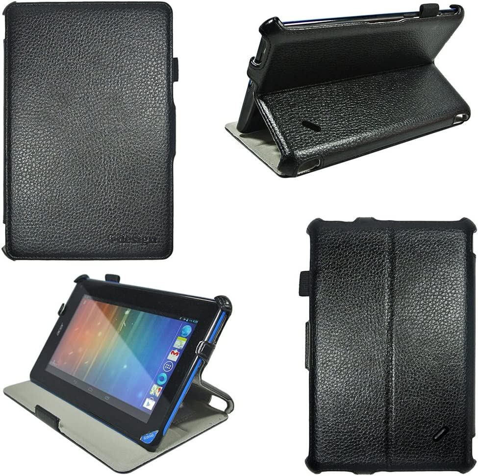 i-design Acer Iconia B1 7 inch Tablet (B1-A71) Slim Folio Book Shell Case with Built in Stand, Stylus Loop and Hand Strap (Black, Acer B1)