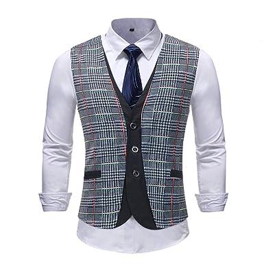 8556e59e5 Sliktaa Gilet de Costume Homme Moderne Veste sans Manches Slim Fit Mariage  Business Loisirs