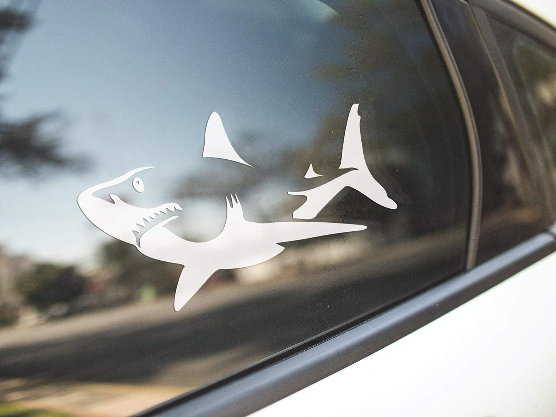 PotteLove Great White Shark, Funny Cute Surf Surfer Surfing Ocean Sea Marine Biologist, Vinyl Sticker Decal Mug Bumper Laptop Car Window Art Decor