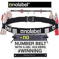 NO LABEL Team Number Belt - 6 Energy Gel Loops - Running Ironman Triathlon Cycling Races