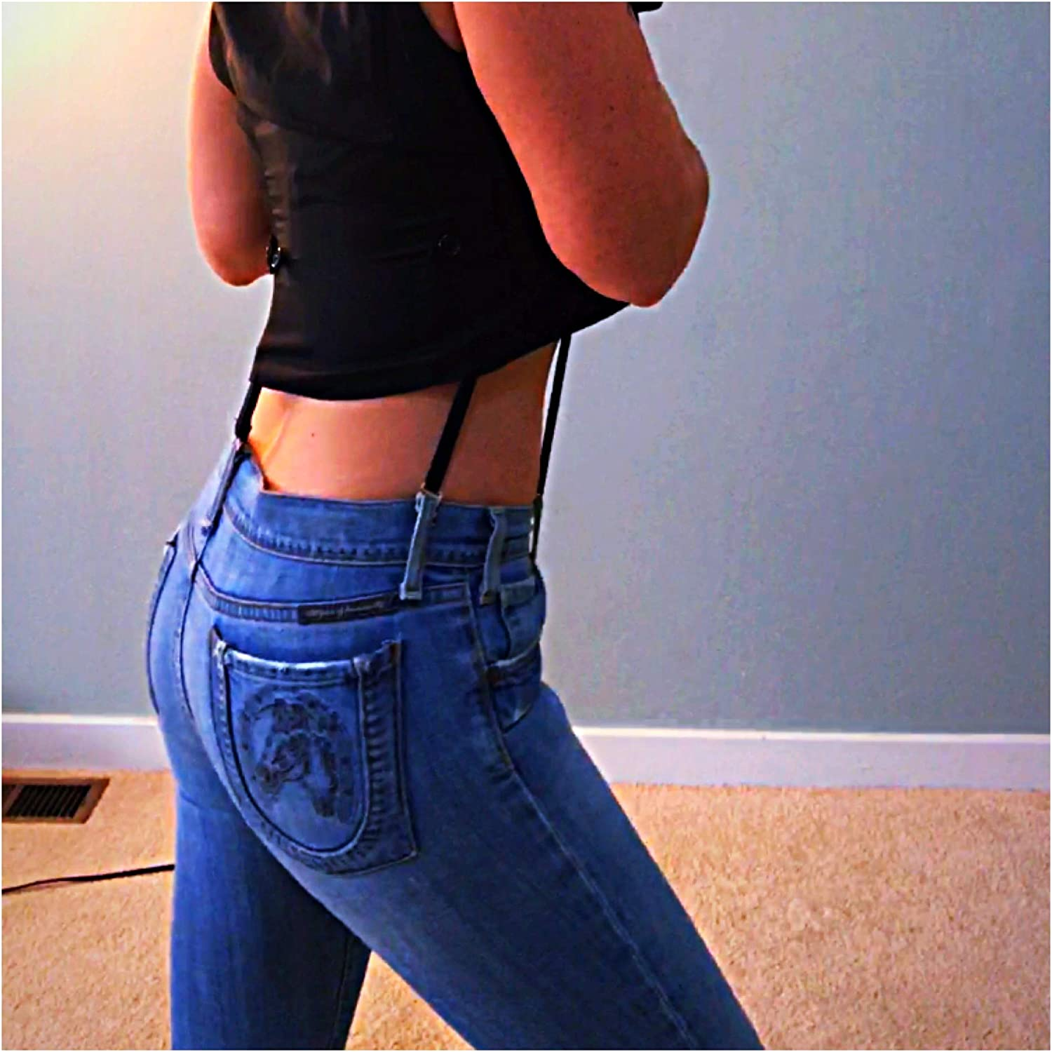 No Suspender Clips Black Y-Back Butt Lifting Womens Undergarment Suspenders for Pants with Belt Loops 5 Hooks