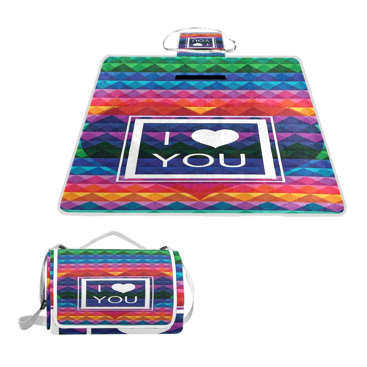 KVMV Colorful Fractal Mosaic Backdrop with Heart and Love You Frame Valentines Picnic Mat Sandproof and Waterproof Outdoor Picnic Blanket for Camping Hiking Beach Grass Travel by KVMV
