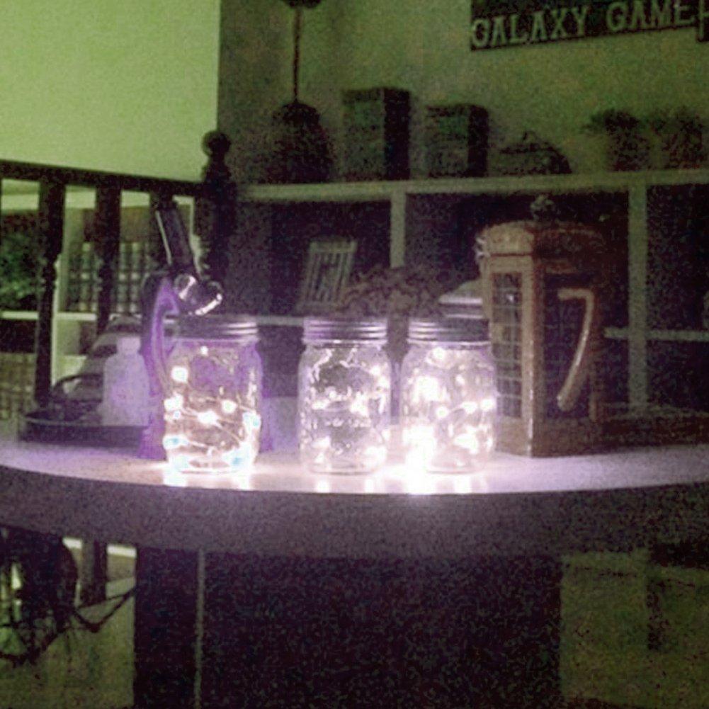 Mason Jar Lights, 3 Pack Solar Mason Jar Lid Insert, LED String Solar Light Jar Lid Insert for Garden Patio Outdoor Party Festivals, Wedding Decoration (White Lights)