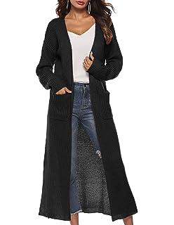 Womens Casual Long Sleeve Split Open Cardigan Knit Long