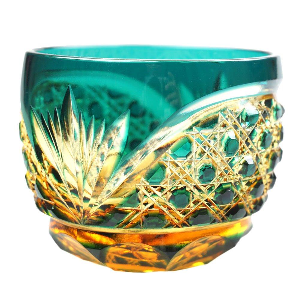 Crystal Sake Cup Edo Kiriko Guinomi Cut Glass Octagon Hakkaku-Kagome Pattern - Green x Amber [Japanese Crafts Sakura] by Japanese Crafts Sakura