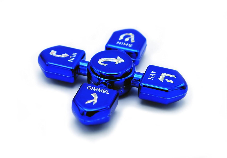 Metallic Blue - The Dreidel Company Metallic Silver Metallic Fuchsia//Pink Chanukah Toys! Hanukkah Dreidel Fidget Spinner Multi-Pack x5 Sets of 3 Fidget Spinners, Total of 15